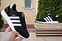 Кроссовки мужские Adidas Iniki в стиле Адидас Иники, замша, текстиль код Z-1776. Черные с белым, фото 6