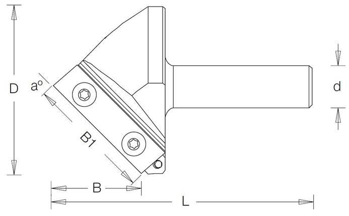 Фреза гравировальная DIMAR со сменными ножами угол 150° D=57,6 B=7,6 B1=29,5 L=75 d=12, фото 2