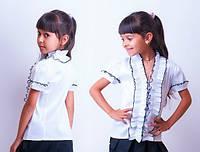Шикарная школьная блузка  с коротким рукавом на змейке