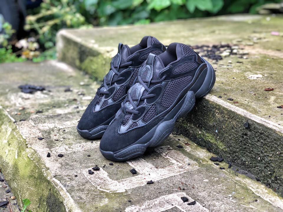 Кроссовки мужские Adidas Yeezy 500 Utility Black, натуральная замша, кожа, в стиле Адидса  код Z-1654.
