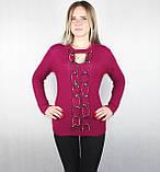 Женский вязаный свитер с вырезом декольте темно-малинового цвета, фото 4