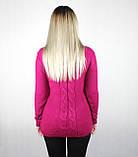 Женский вязаный свитер с вырезом декольте темно-малинового цвета, фото 3