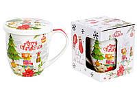 Кружка фарфоровая с крышкой Счастливого рождества, 360мл, фото 1