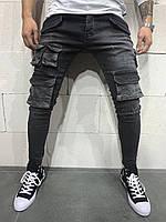 Джинсы рваные мужские черные крутые с боковыми карманами / ЛЮКС Турция