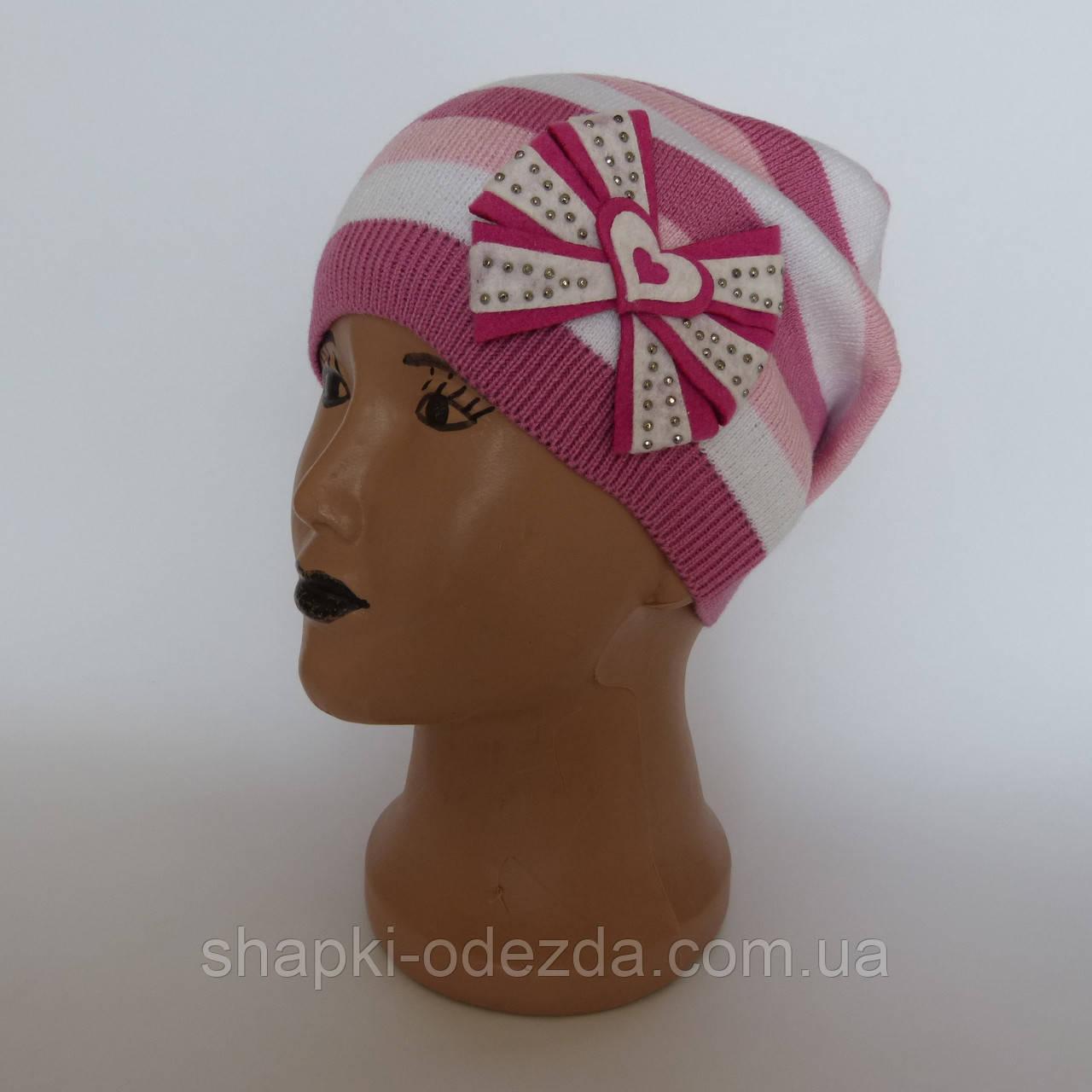 Детская вязаная шапка для девочки в полоску от  4-6 лет оптом