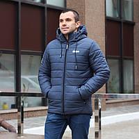 Мужская зимняя стёганная куртка с капюшоном