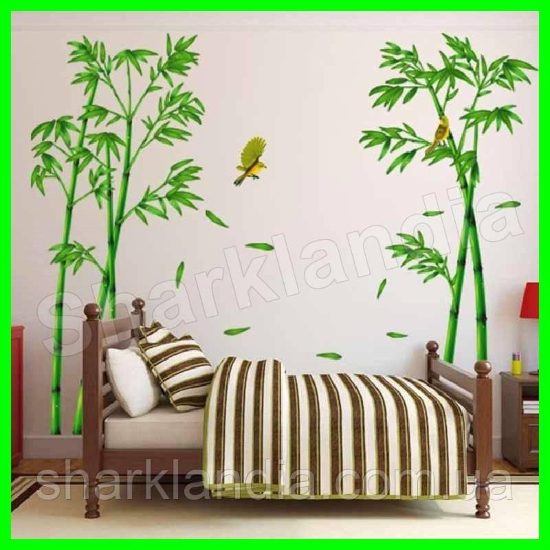 Наклейка интерьерная виниловая настенная Бамбук на стену птицы растения