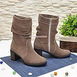 Ботинки замшевые на невысоком каблуке, цвет бежевый, фото 2