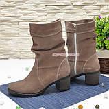 Ботинки замшевые на невысоком каблуке, цвет бежевый, фото 3