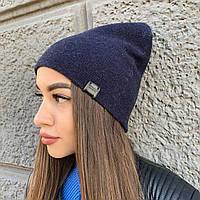 Вязанная женская шапка бини на осень в голубом и темно-синем цвете  от Odyssey, артикул 28586