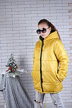 Куртка демисезонная двухсторонняя р. 134-164 опт жёлтая+т.зеленый