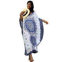 Blue Bohemian Print Kaftan Maxi Dress