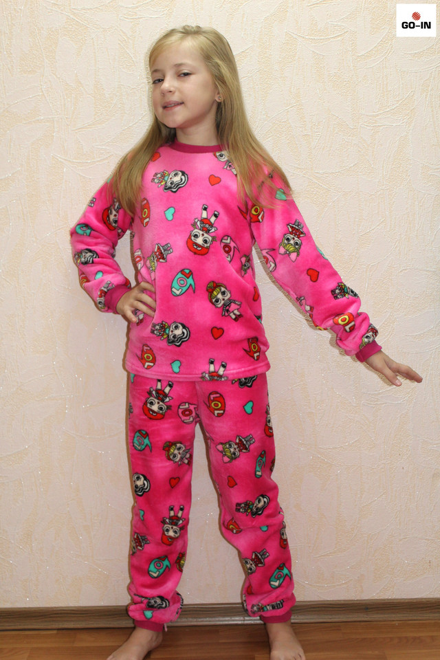 Пижама детская махровая розовая теплая ЛОЛ