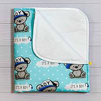 Непромокаемая пеленка BabySoon Мишка в кепке 70 х 80 см (0641)