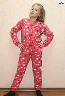 Пижама детская флисовая для девочки розовая 32-40 р.