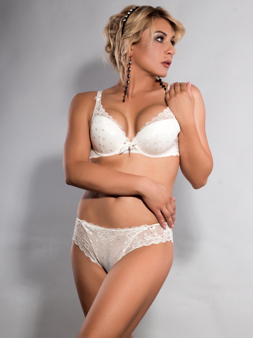 Комплект жіночої нижньої білизни Acousma A6407D-1-P6407-1H, колір Молочний,  розмір 90D-XXL