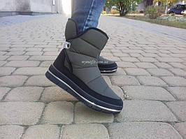 Зимові чоботи жіночі на затяжці Оливкові дутики   Розмір 37  