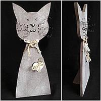 Кот декоративный деревянный с металлическими усами, выс. 37 см., 150 гр.