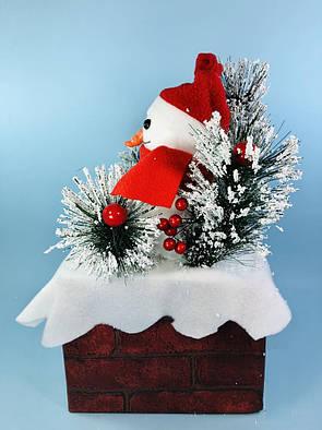 Декор новогодние Снеговики на кирпичной подставке, 50 см, фото 2