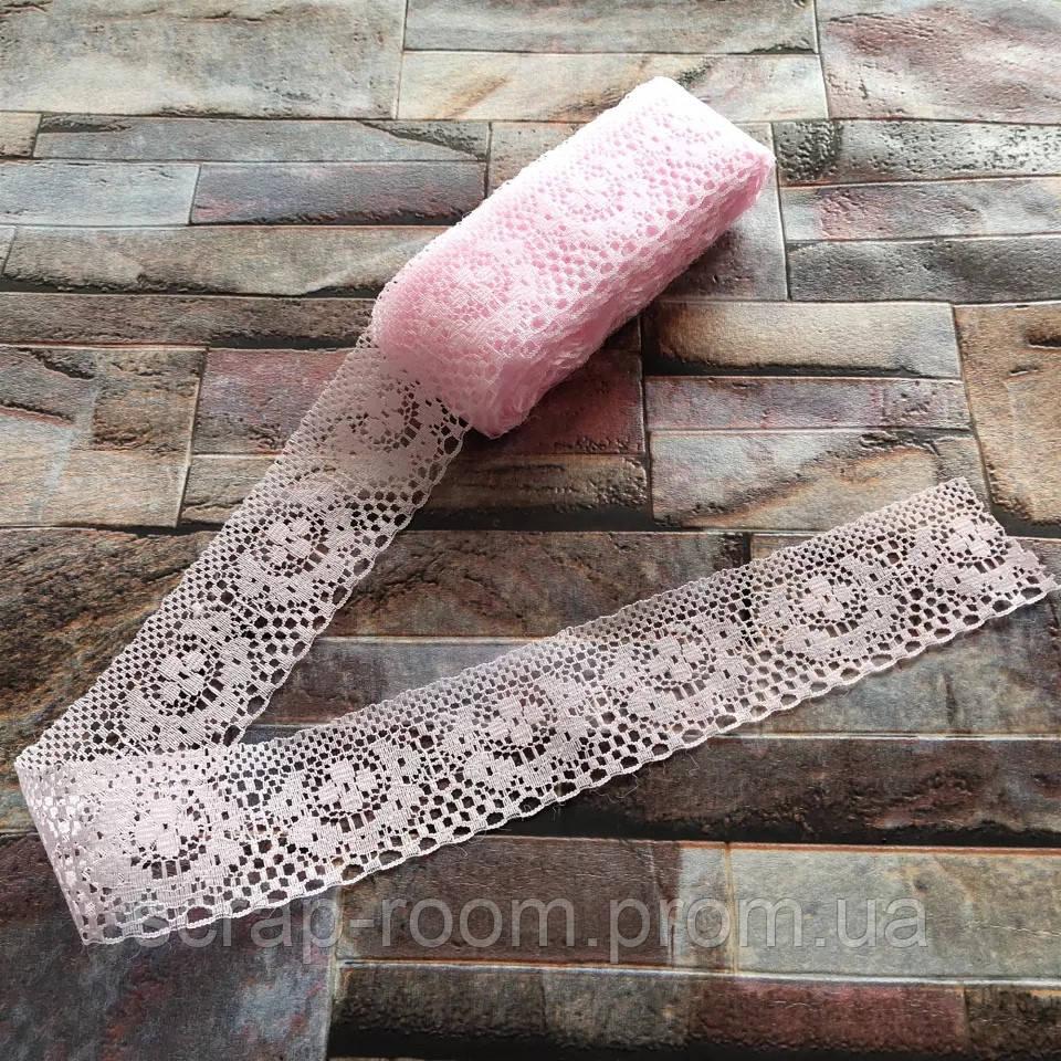 Кружево светло-розовое тонкое, кружево, кружево синтетическое, ширина кружева 40 мм, цена указана за 1 метр