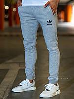 Теплые мужские спортивные штаны Adidas серые (ЗИМА) с начесом на манжетах реплика