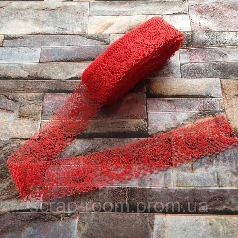 Кружево красное тонкое, кружево красное, кружево синтетическое, ширина кружева 40 мм, цена указана за 1 метр
