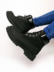 Ботинки Timberland Classic (тимберленд Черные)  (Нубук Натуральный и Термоподкладка Женские размер 36-40