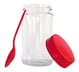 Банка стеклянная высокая 314 мл с пластиковой красной крышкой и ложкой Everglass, фото 2