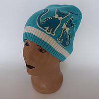Детская вязаная шапка для девочки с кошечками от  3-5 лет оптом