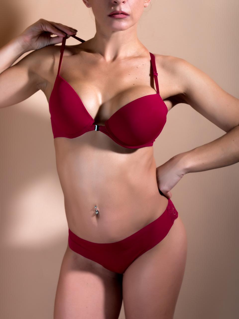 Комплект женского нижнего белья Acousma A6478BC-T6478H, цвет Бордовый, размер 80B-L