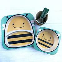 Набор бамбуковой посуды для детей бджола, фото 1