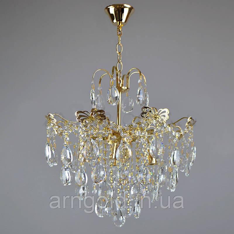 Люстра подвесная на четыре лампочки хрустальная 3-E1555-4FGD