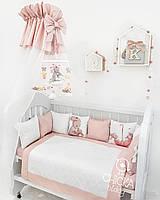 """Комплект в детскую кроватку """"Зайки с пудровым и белым сатином"""""""