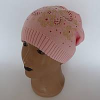 Детская вязаная шапка для девочки с украшением с бисеров от  4-6 лет оптом