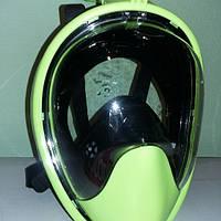 Маска для плавания панорамная Free Breath L/XL, зелёная