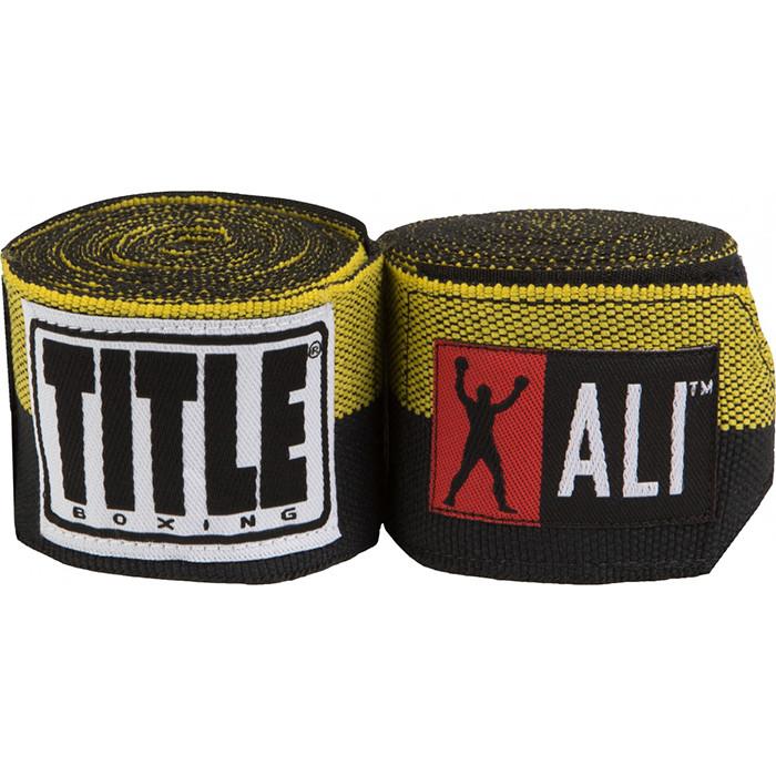 Бинти боксерські еластичні TITLE Boxing Muhamed Ali Semi-Stretch-4,5 м, Чорний з жовтим