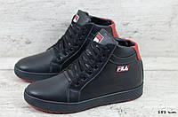 Мужские кожаные зимние ботинки/кеды Fila (Реплика) (Код: 151 ч.т.  ) ►Размеры [40,41,42,43,44,45], фото 1