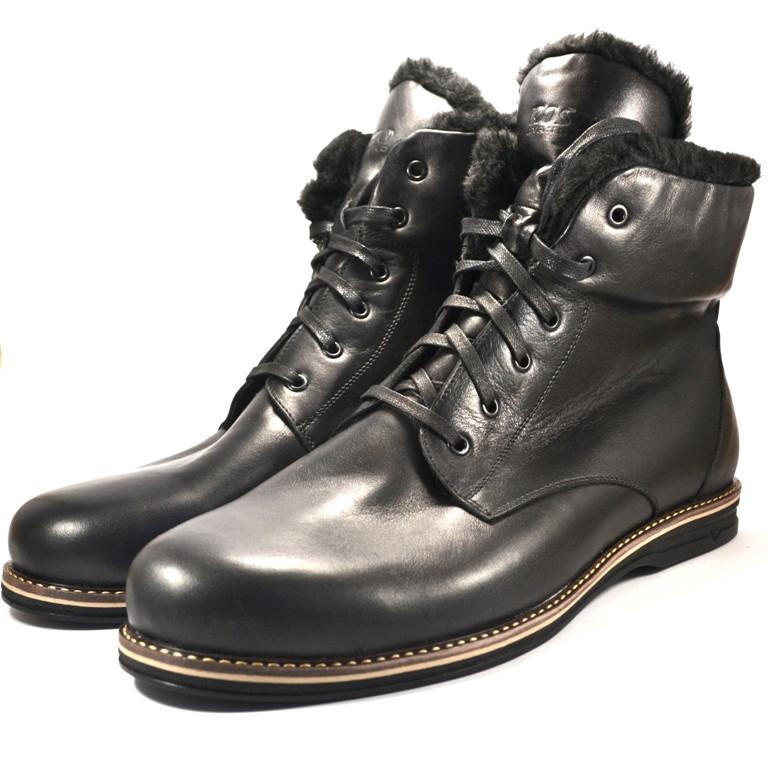 Большой размер зимние ботинки мужские кожаные Rosso Avangard BS Night POLY Whisper Black черные