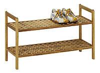 Деревянная подставка, полка для обуви, 2 яруса, фото 1
