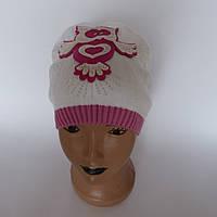 Детская вязаная шапка для девочки с совушкой от  3-5 лет оптом