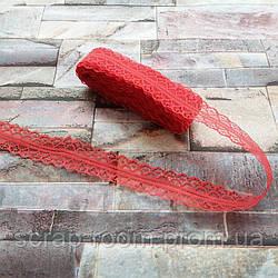 Кружево красное тонкое, кружево красное, кружево синтетическое, ширина кружева 28 мм, цена указана за 1 метр