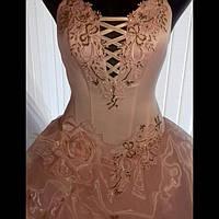Вечернее платье нарядное женское розового цвета с атласным каркасом на замке и шнуровке