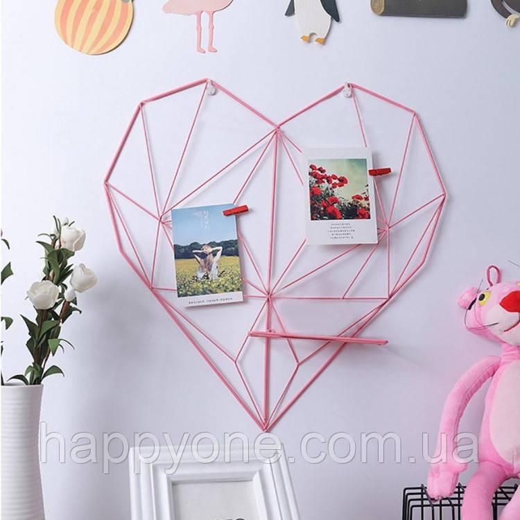 Настенный органайзер-доска визуализации Moodboard Heart (розовый)