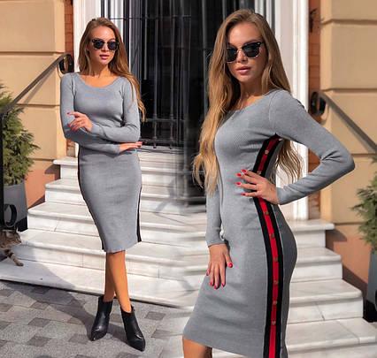 """Женское вязаное платье средней длины 7726 """"Лампасы Полоска Пуговицы"""" в расцветках"""