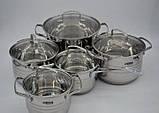 Набір посуду Benson BN-203 з нержавіючої сталі 10 предметів, фото 2