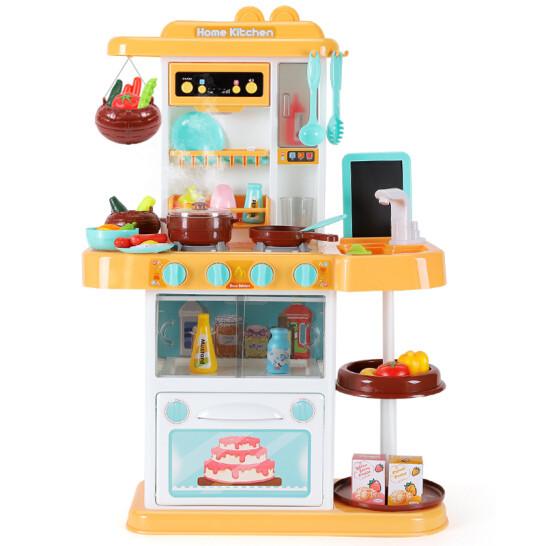 Детская желтая кухня с посудой и продуктами, звук, свет (высота 72 см, в наборе 43 предмета)