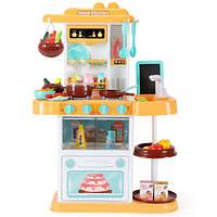Детская желтая кухня с посудой и продуктами, звук, свет (высота 72 см, в наборе 43 предмета), фото 1