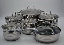 Набор посуды Benson BN-204 из нержавеющей стали 12 предметов