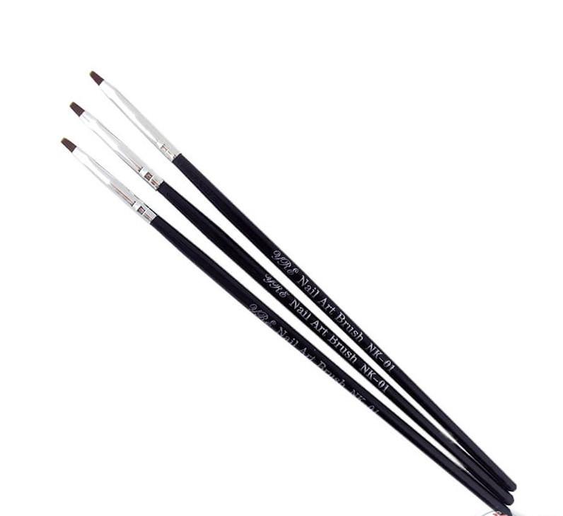 Набор кистей для геля 3 шт черная ручка, набор кистей YRE
