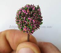 Кусты для макета ( с розовым цветом ) 1шт , масштба 1:87